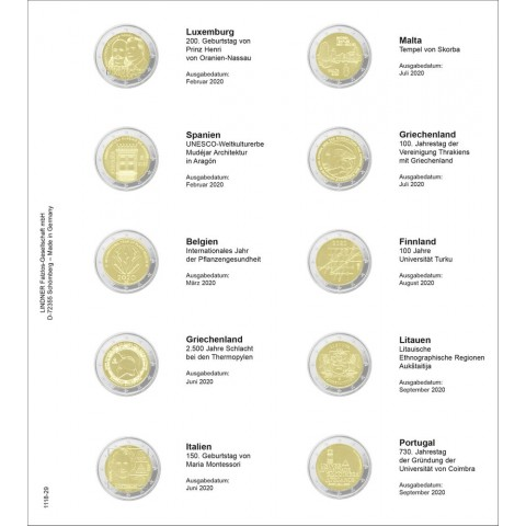 Lindner pages into album of 2 Euro coins (Mar. 2020 - Sept. 2020)