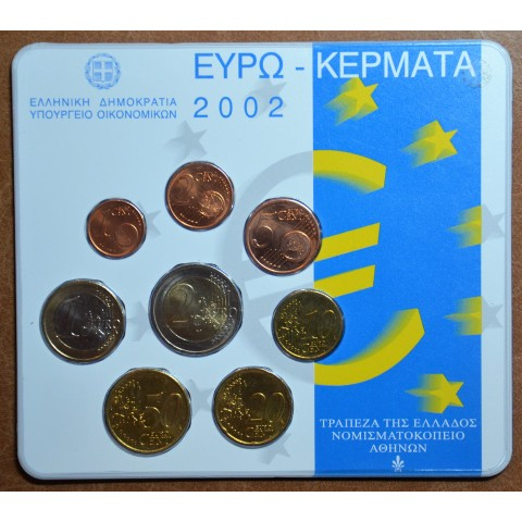 Greece 2002 set of coins - with error by KNM (BU)