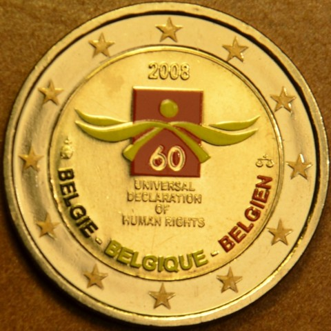 2 Euro Belgium 2008 - 60th anniversary of the Universal Declaration of Human Rights (colored UNC)
