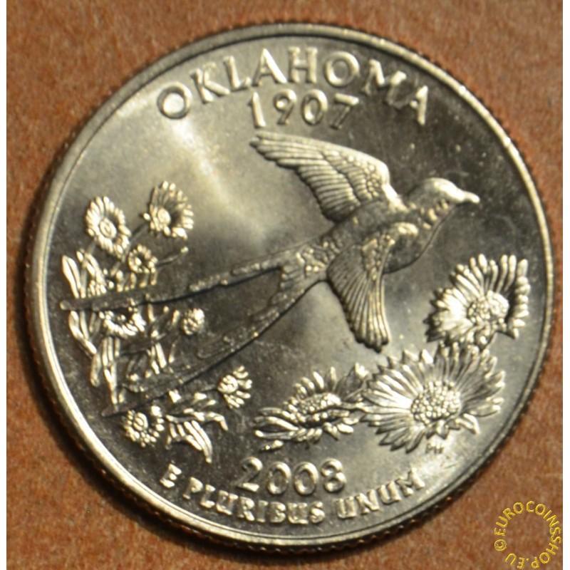 """25 cent USA """"D"""" 2008 Oklahoma (UNC)"""
