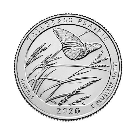 """25 cent USA 2020 Tallgrass Prairie """"D"""" (UNC)"""