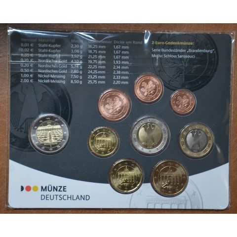 """Germany 2020 """"A"""" set of 9 coins (BU)"""