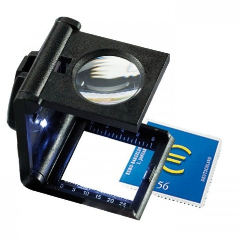 Leuchtturm Folding magnifier 5x magnification with LED