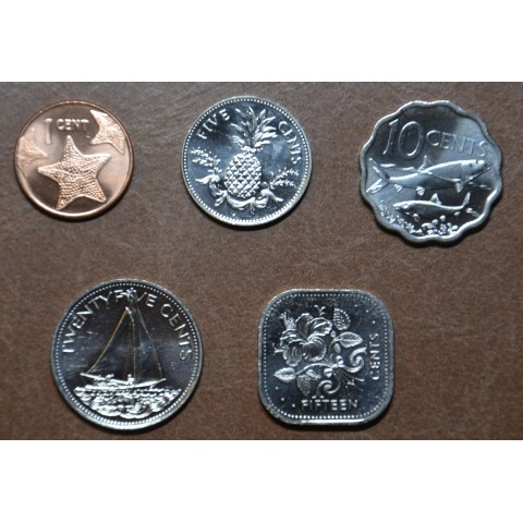 Bahamas 5 coins 1974-2016 (UNC)