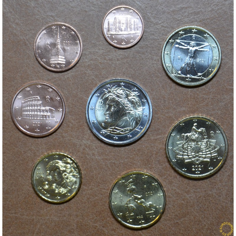 Italy 2021 set of 8 coins (UNC)