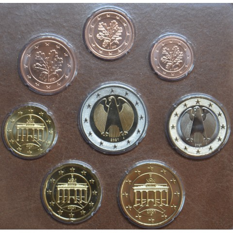 """Germany 2021 """"J"""" set of 8 coins (UNC)"""