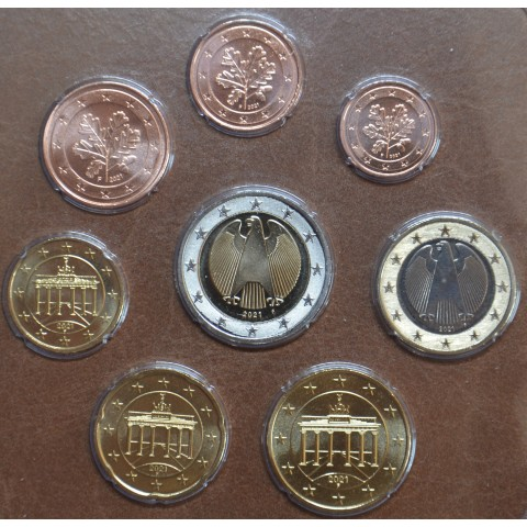 """Germany 2021 """"F"""" set of 8 coins (UNC)"""