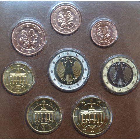 """Germany 2021 """"G"""" set of 8 coins (UNC)"""