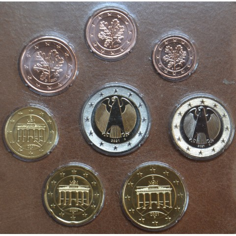 """Germany 2021 """"D"""" set of 8 coins (UNC)"""