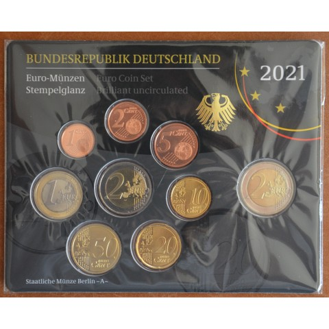 "Germany 2021 ""A"" set of 9 coins (BU)"