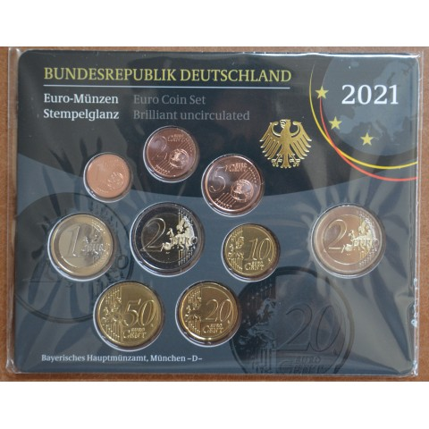 """Germany 2021 """"D"""" set of 9 coins (BU)"""