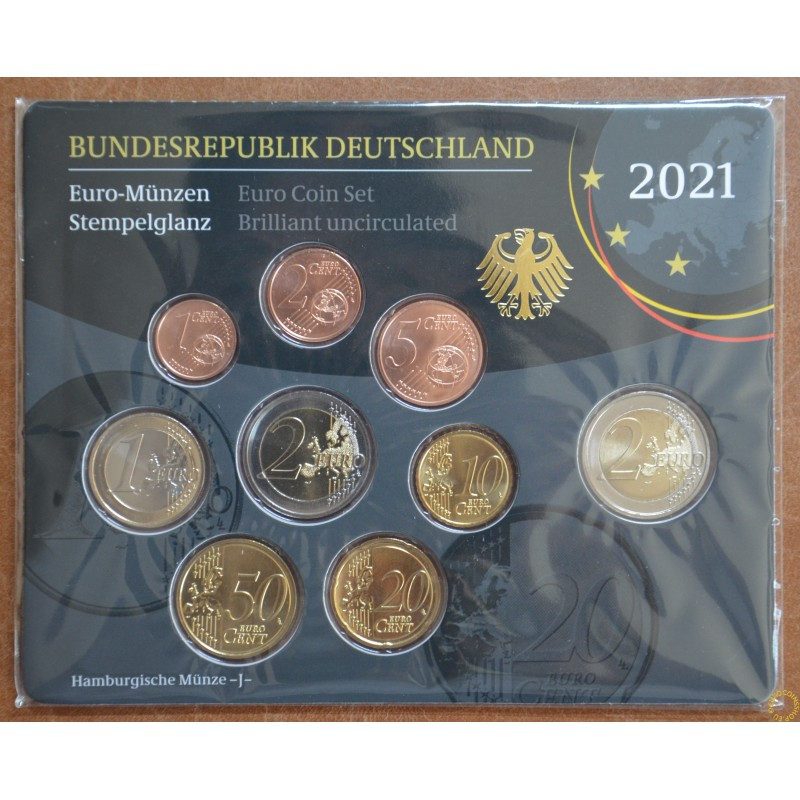 "Germany 2021 ""J"" set of 9 coins (BU)"