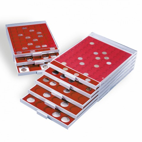 Grey/red Leuchtturm plastic box for 20 coins max. 48x48 mm