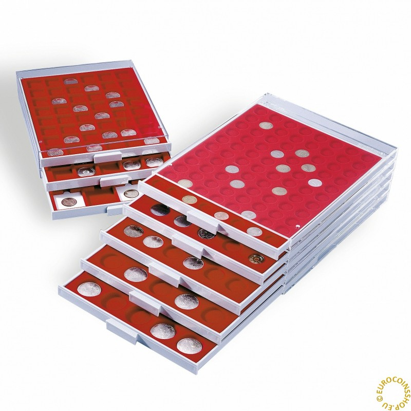 Grey/red Leuchtturm plastic box for 35 capsulas of 2 Euro (50 cent) coins