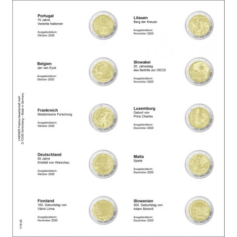 Lindner pages into album of 2 Euro coins (Oct. 2020 - Dec. 2020)