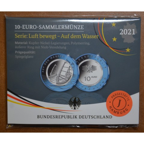 """10 Euro Germany """"ADFGJ"""" 2021  In the water (5x Proof)"""