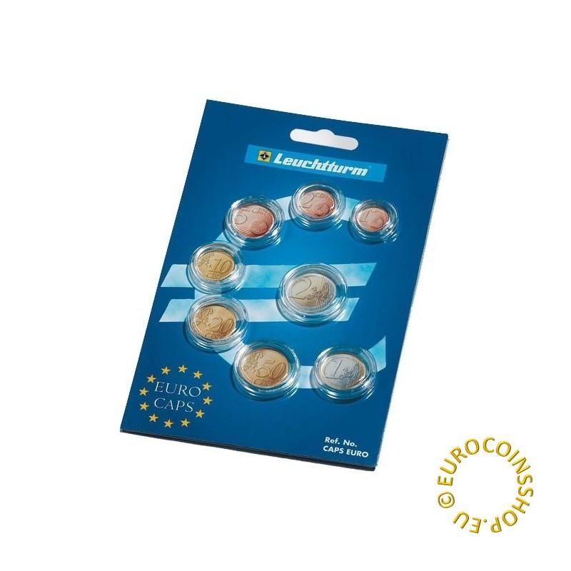 Leuchtturm coin capsules for Euro coin set (8 coins)