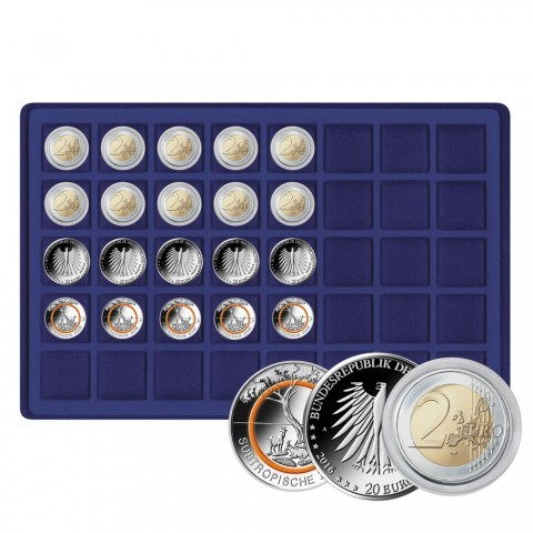 Lindner Coin trays for 40 coins up to 34 mm blue