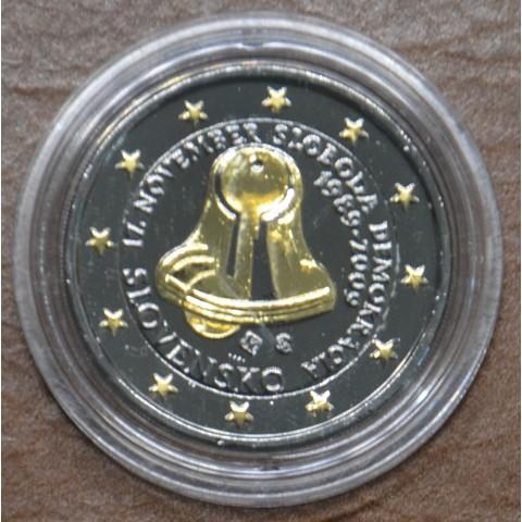 2 Euro Slovakia 2009 - 20th Anniversary of the Start of the Velvet Revolution (ruthenium-gold plated)