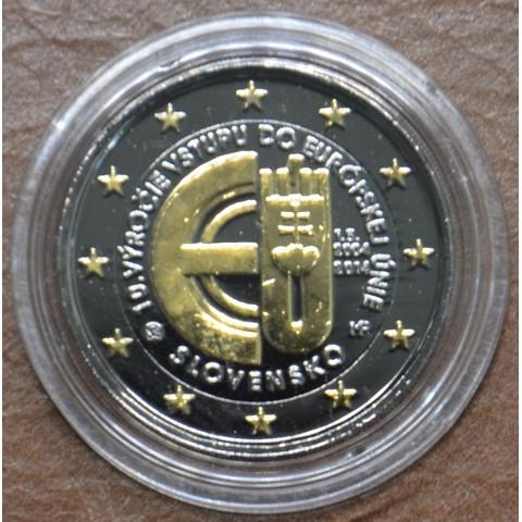 2 Euro Slovakia 2014 - 10 years in EU (ruthenium-gold plated)