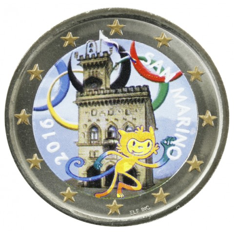 2 Euro San Marino 2016 - Government House - Olympia team (colored UNC)