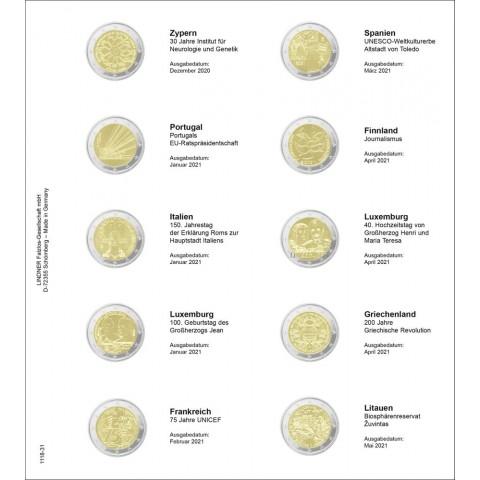 Lindner page 31 into album of 2 Euro coins (Dec. 2020 - May 2021)
