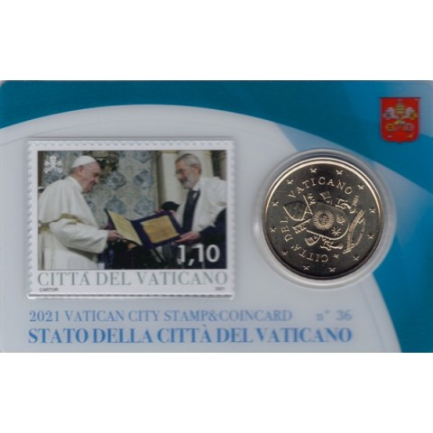 50 cent Vatican 2021 official coin card with stamp No. 36 (BU)