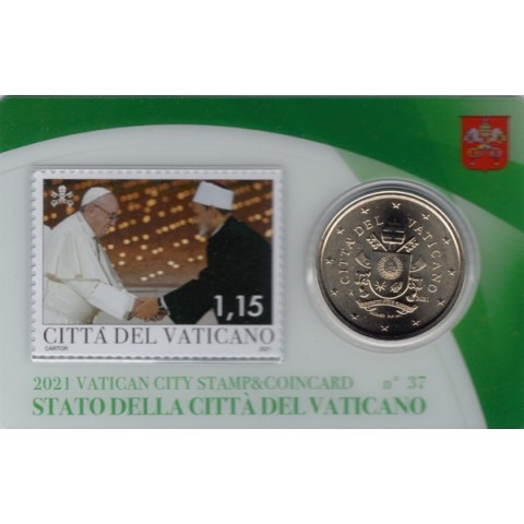 50 cent Vatican 2021 official coin card with stamp No. 37 (BU)
