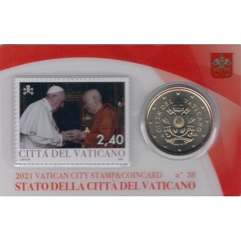 50 cent Vatican 2021 official coin card with stamp No. 38 (BU)