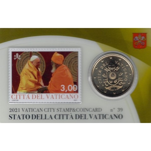 50 cent Vatican 2021 official coin card with stamp No. 39 (BU)