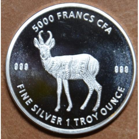 5000 francs Chad 2021 - Antelope (1 oz. Ag)