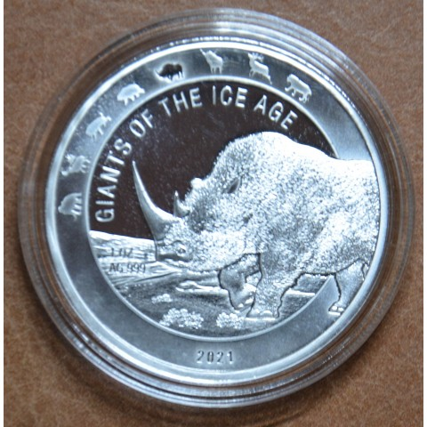 5 cedis Ghana 2021 - Woolly Rhinoceros (1 oz. Ag)