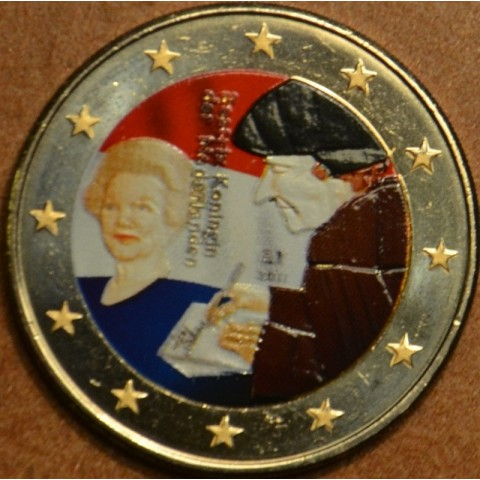 2 Euro Netherlands 2011 - The 500th anniversary of the world-famous book Laus Stultitiae by Erasmus  (colored UNC)