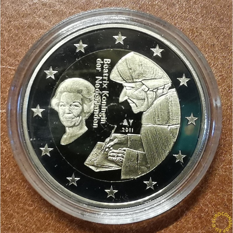 2 Euro Netherlands 2011 - The 500th anniversary of the world-famous book Laus Stultitiae by Erasmus  (Proof wo box)