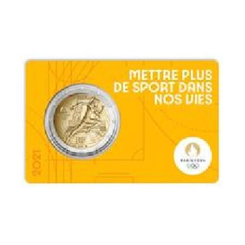 2 Euro France 2021 - Paris 2024 Olympic Games (yellow BU card)