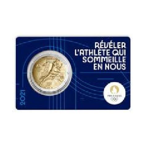 2 Euro France 2021 - Paris 2024 Olympic Games (dark blue BU card)