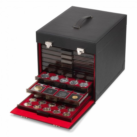 Coin Case black with high-quality imitation leather, for 10 Coin Boxes