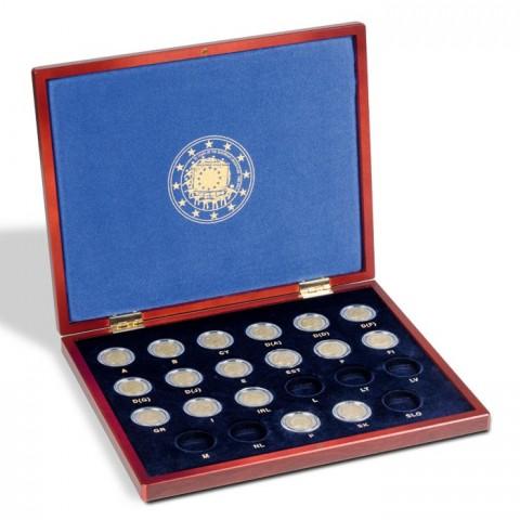 Wooden box Leuchtturm Volterra for common 2 Euro coins EU flag  2015