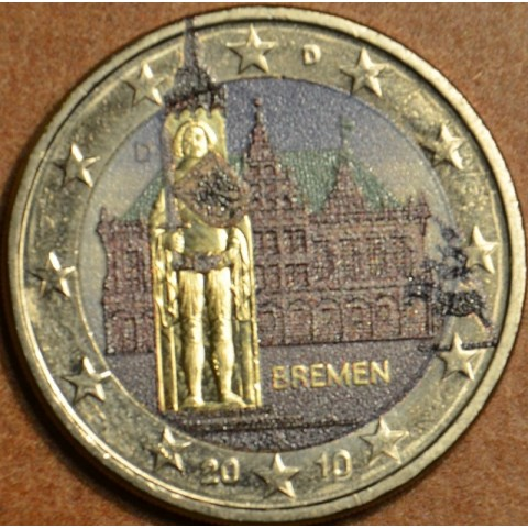 2 Euro Germany 2010 - Bremen: Town hall with sculpture of Roland II. (colored UNC)