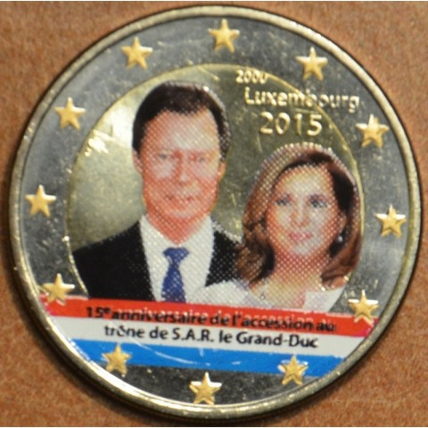 2 Euro Luxembourg 2015 - 15. anniversary of Henri's Accession to the Throne II. (colored UNC)