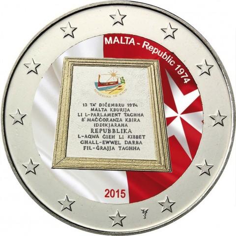 2 Euro Malta 2015 - Republic 1974 (colored UNC)