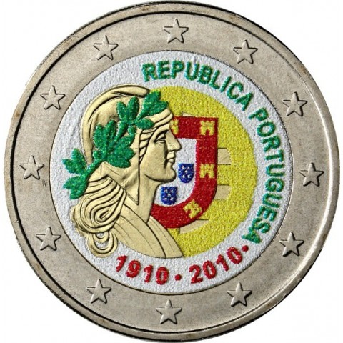 2 Euro Portugal 2010 - 100th anniversary of the Portugal Republic II. (colored UNC)