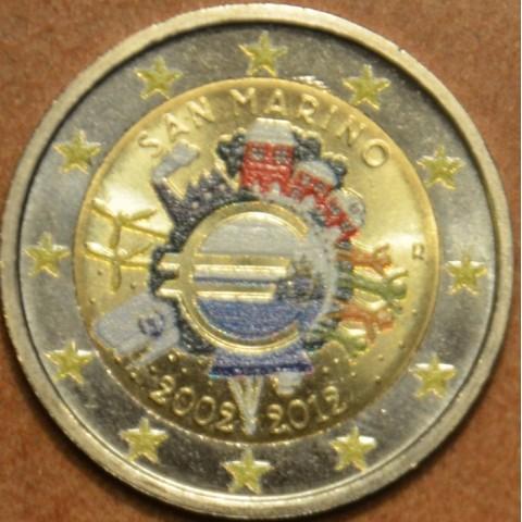 2 Euro San Marino 2012 - 10 years of Euro (colored UNC)
