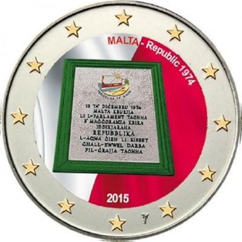 2 Euro Malta 2015 - Republic 1974 II. (colored UNC)
