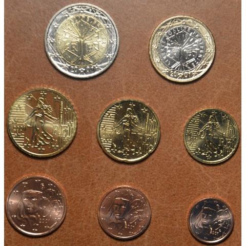 Set of 8 eurocoins France 2001 (UNC)
