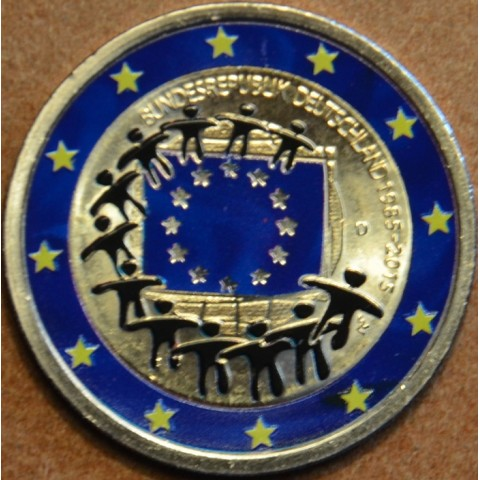 """2 Euro Germany """"D"""" 2015 - 30 years of European flag (colored UNC)"""