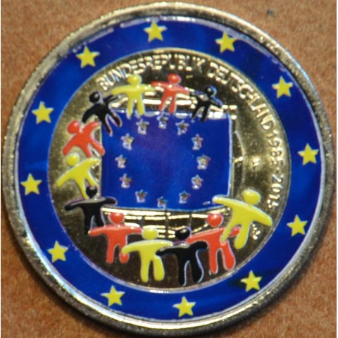 """2 Euro Germany """"F"""" 2015 - 30 years of European flag (colored UNC)"""