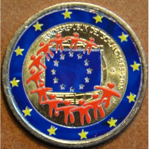 """2 Euro Germany """"G"""" 2015 - 30 years of European flag (colored UNC)"""