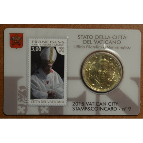 50 cent Vatican 2015 official coin card with stamp No. 9 (BU)