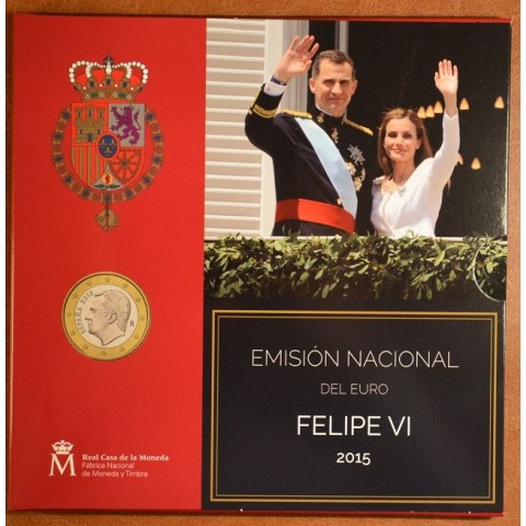 Official set of 9 coins of Spain 2015  (BU)